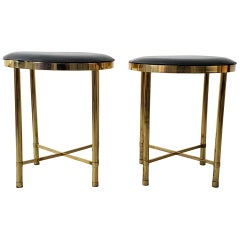 Pair of Low Round Soild Brass Stools by Shelby Williams
