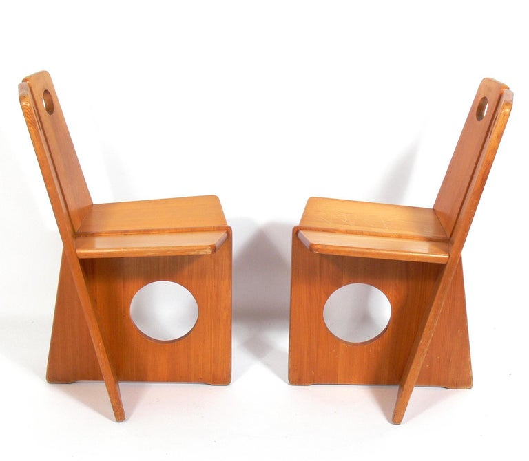 Industrial Pair of Low Slung German Constructivist Chairs For Sale