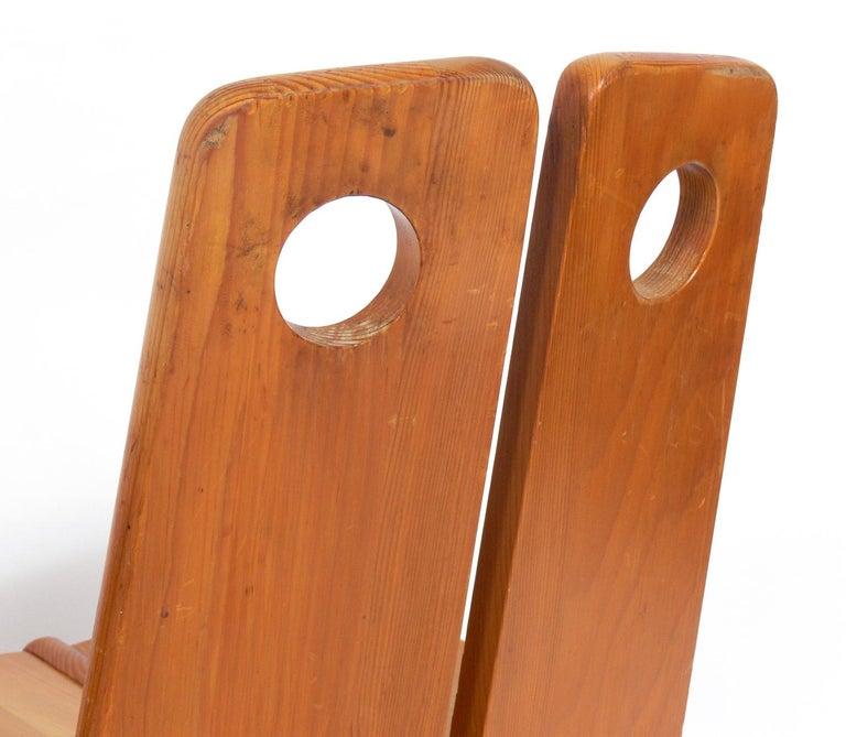 Pine Pair of Low Slung German Constructivist Chairs For Sale