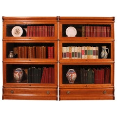 Pair of Low Stacking Bookcases in Light Oak Globe Wernicke, Late 19th Century