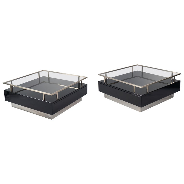 Pair of Low Tables by Guy Lefevre for Maison Jansen, France, 1970s For Sale