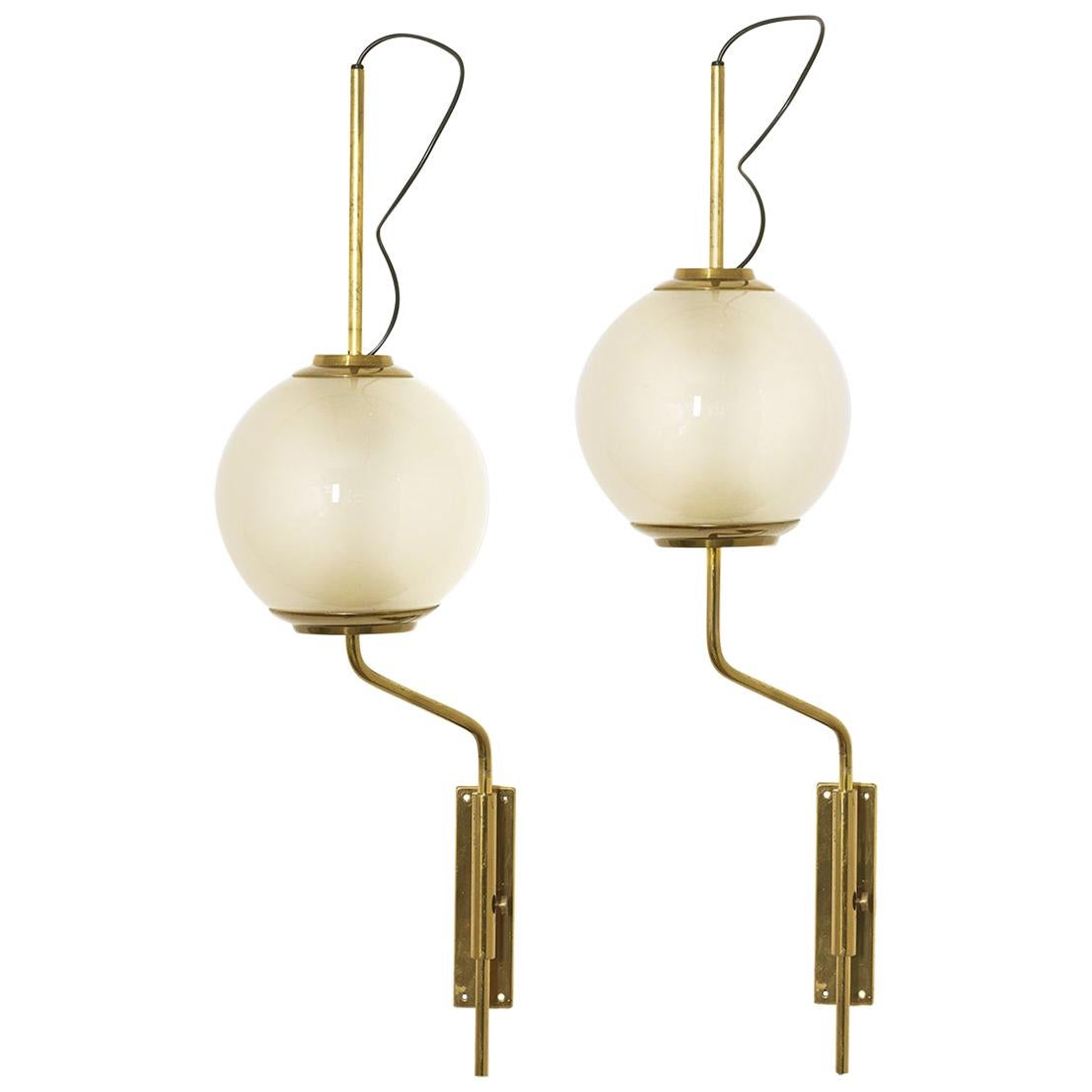 Pair of LP11 or Pallone Brass Wall Lamps by Luigi Caccia Dominioni, Azucena 1958