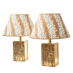 Pair of Luciano Frigerio Brass Lamps, Italy, 1970s