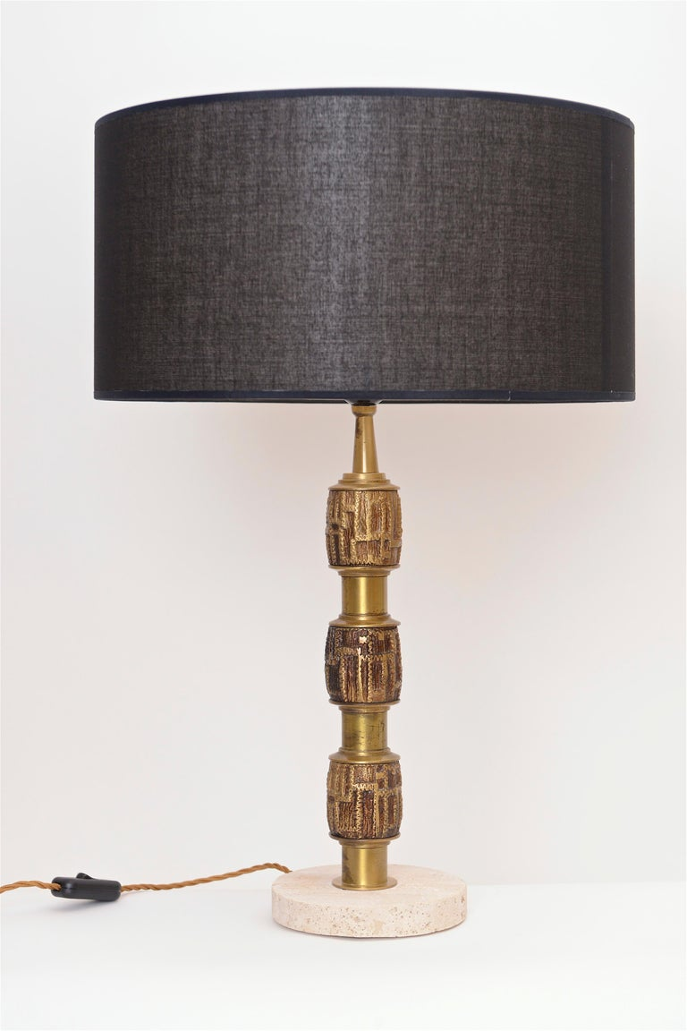 Mid-Century Modern Pair of Luciano Frigerio Brass Table Lamps, Italy, circa 1970 For Sale