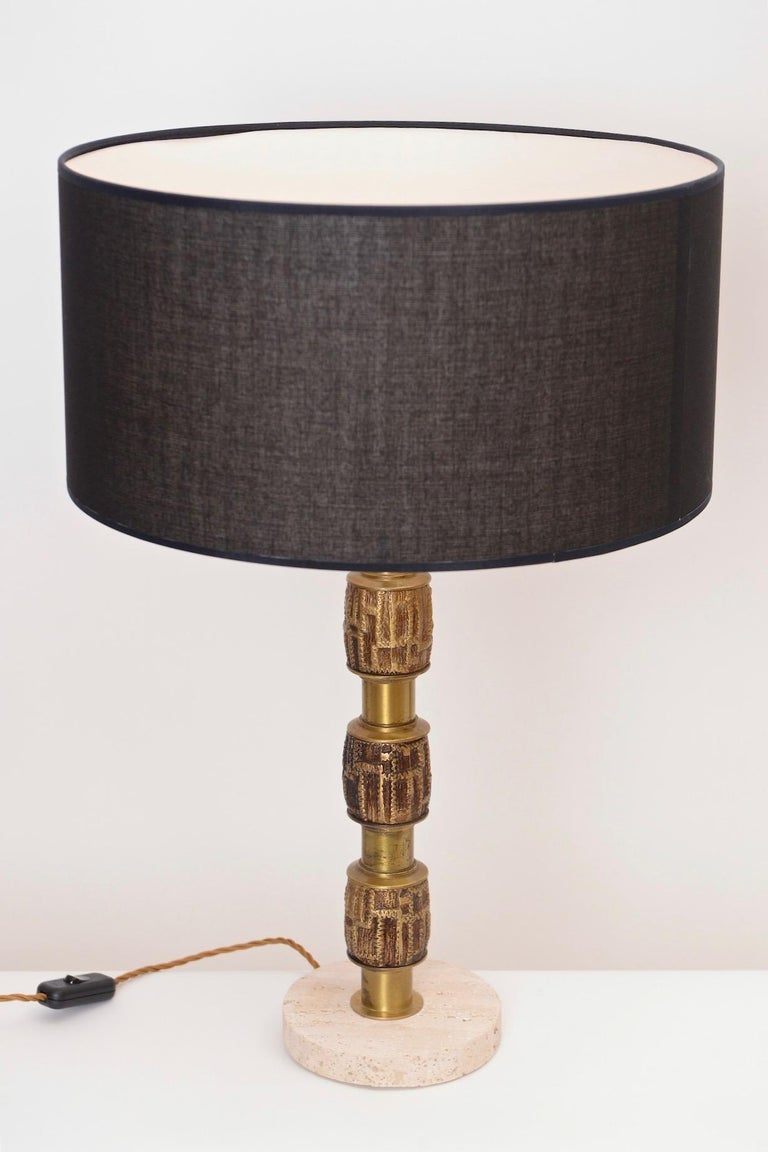 20th Century Pair of Luciano Frigerio Brass Table Lamps, Italy, circa 1970 For Sale