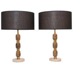 Pair of Luciano Frigerio Brass Table Lamps, Italy, circa 1970