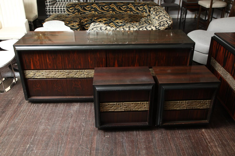Pair of Luciano Frigerio vintage Italian nightstands.