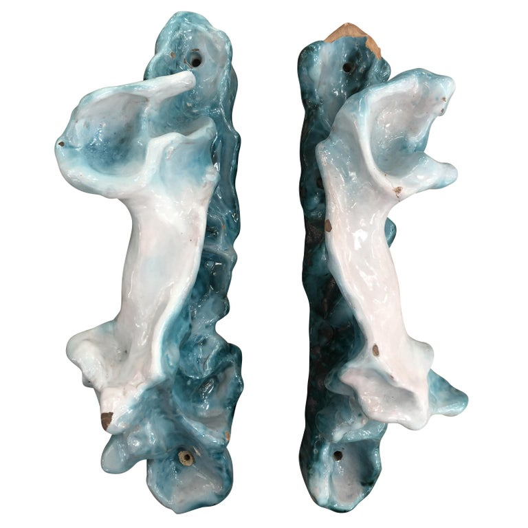 Rare pair of ceramic door handles designed by artist Lucio Fontana and manufactured by Gabbianelli Ceramiche D'arte in 1946. They were installed in a building on via Senato in Milan designed by Marco Zanuso and Roberto Menghi. Original label on the