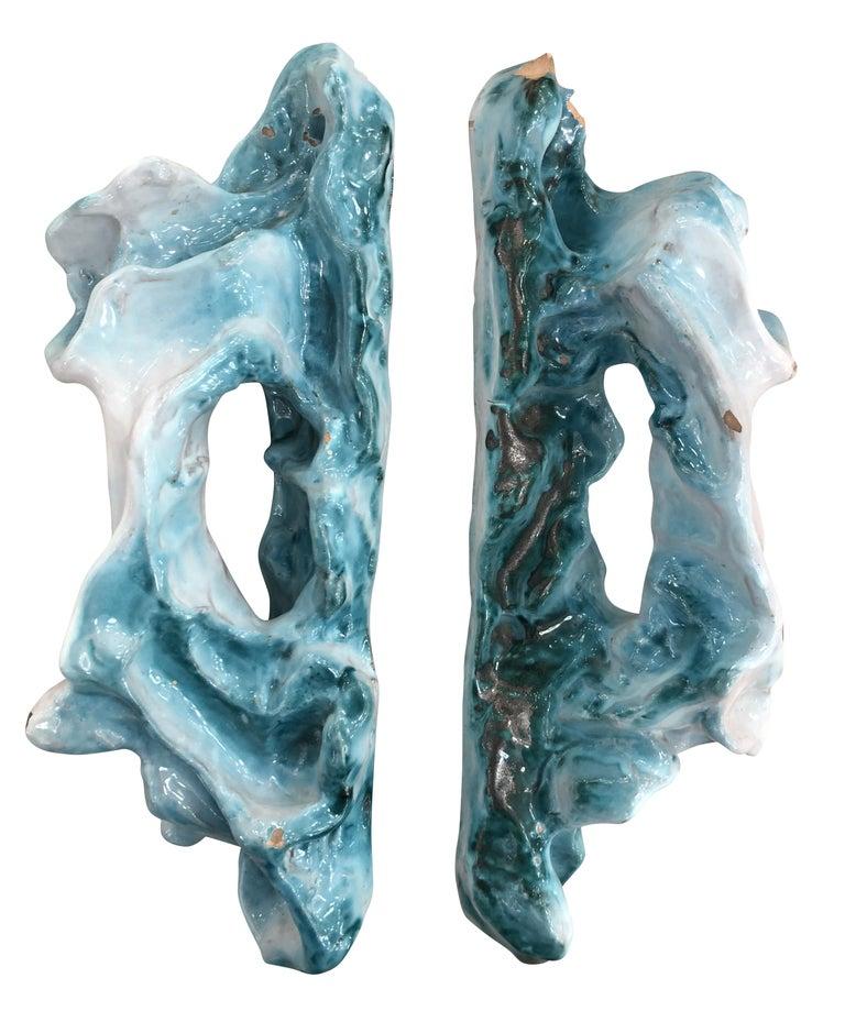 Italian Pair of Lucio Fontana Ceramic Door Handles For Sale