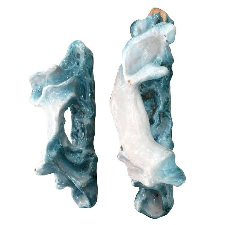 Pair of Lucio Fontana Ceramic Door Handles For Sale