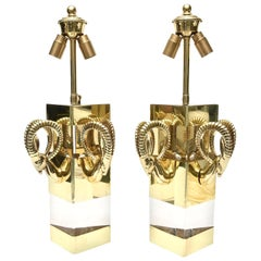 Pair of Lucite and Brass Ram's Head Wall Sconces Vintage