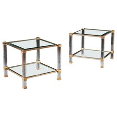 Pair of Lucite and Brass Side Tables