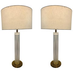 Pair of Lucite and Brass Table Lamps with Graduated Base
