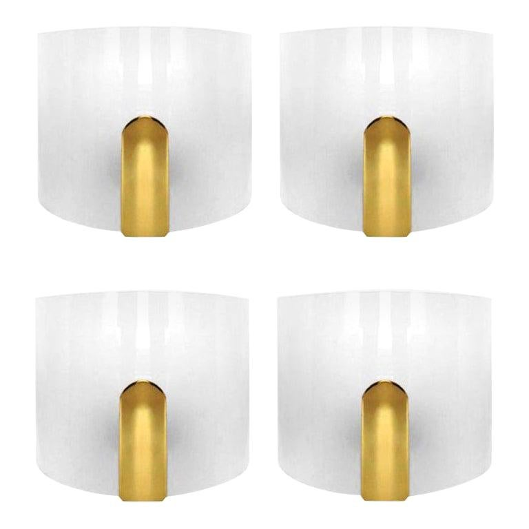 Pair of Lucite and Brass Wall Sconces by Metalarte, 1980s