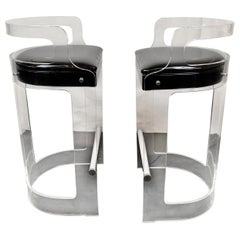 Pair of Lucite Barstools designed by Charles Hollis Jones for Hill MFG, 1970's
