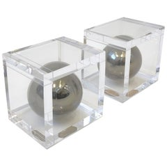 Pair of Lucite and Chrome Bookends by Charles Hollis Jones