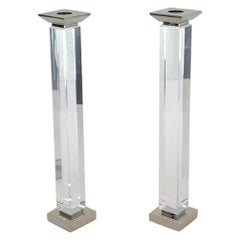 Pair of Lucite and Chrome Candlestick by Charles Hollis Jones