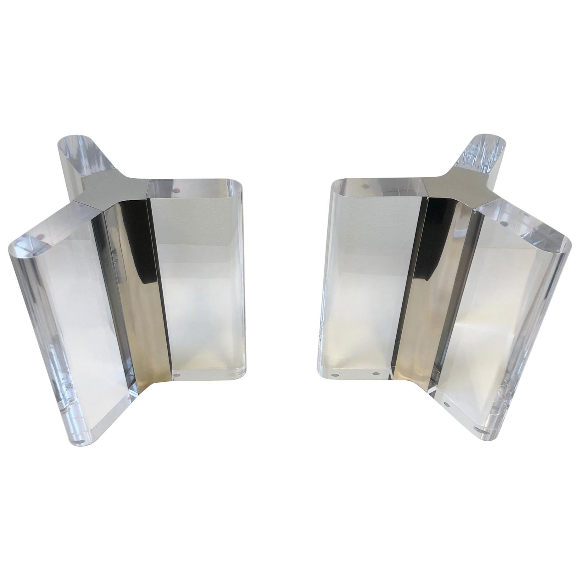 Pair of Lucite and Chrome Dining Table Bases by Charles Hollis Jones