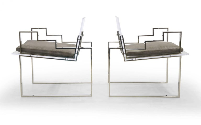 Hollywood Regency Pair of Lucite and Chrome Lounge Chairs Hand Signed by Charles Hollis Jones 1984 For Sale