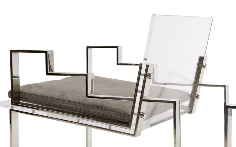 Pair of Lucite and Chrome Lounge Chairs Hand Signed by Charles Hollis Jones 1984 In Excellent Condition For Sale In Kansas City, MO
