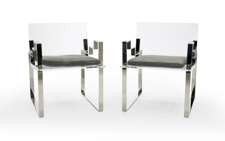 Late 20th Century Pair of Lucite and Chrome Lounge Chairs Hand Signed by Charles Hollis Jones 1984 For Sale