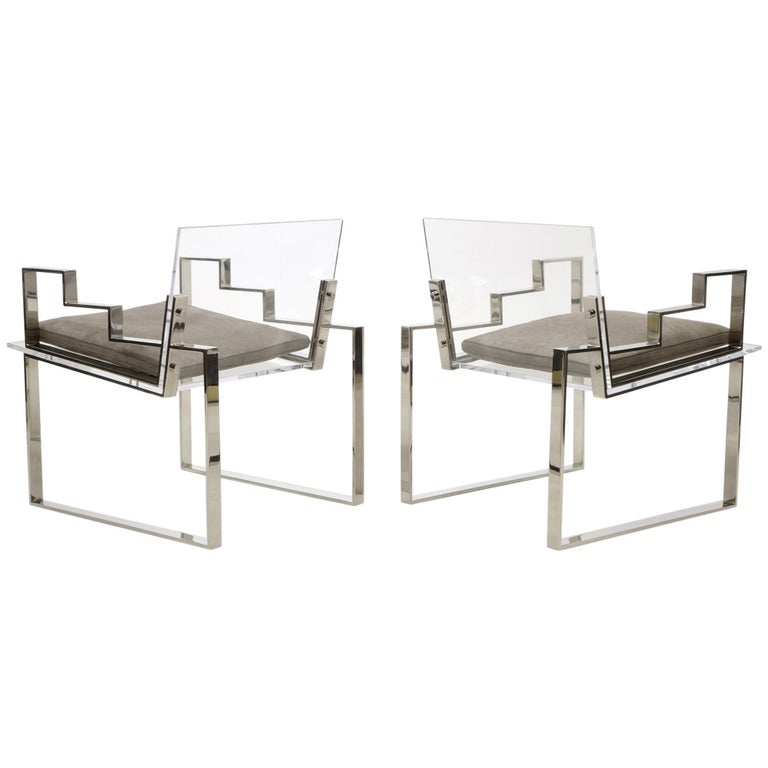 Pair of Lucite and Chrome Lounge Chairs Hand Signed by Charles Hollis Jones 1984 For Sale