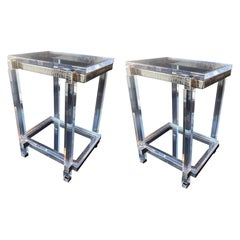 Pair of Lucite and Chrome Side Cocktail Tables, USA, 1970s