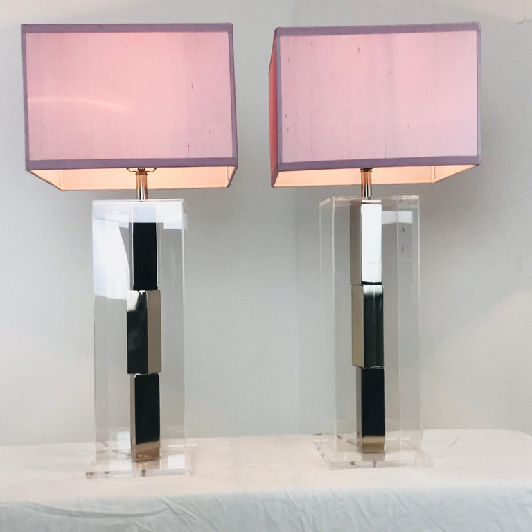 Pair of Lucite and Chrome Table Lamps by Laurel with Silk Shades For Sale 1