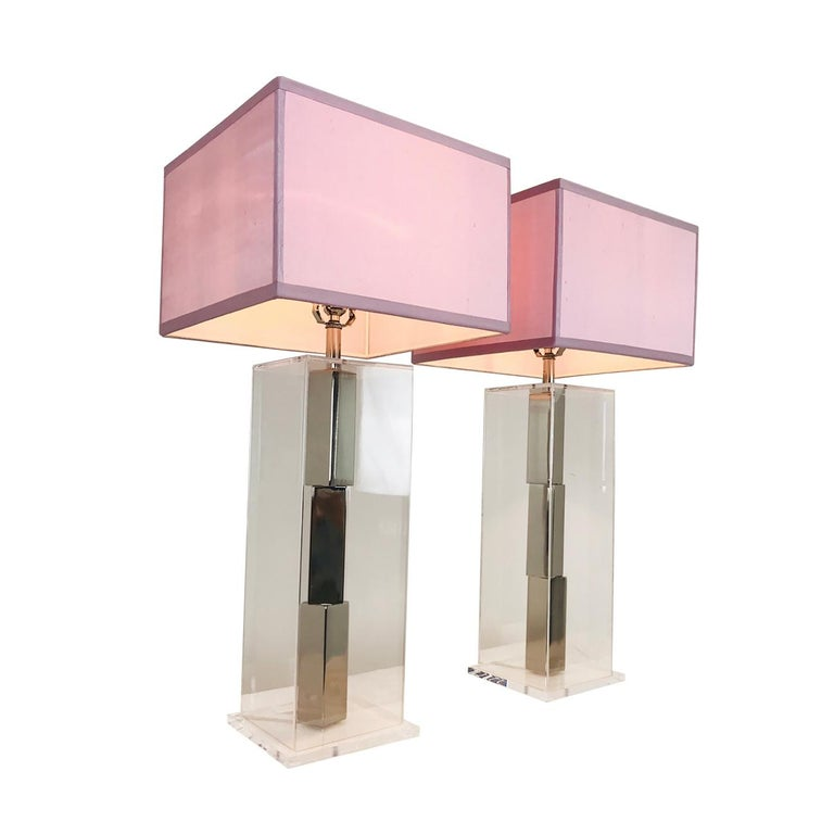 Pair of Lucite and Chrome Table Lamps by Laurel with Silk Shades For Sale