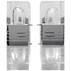 Pair of Lucite and Chrome Wall Sconces by Gaetano Sciolari