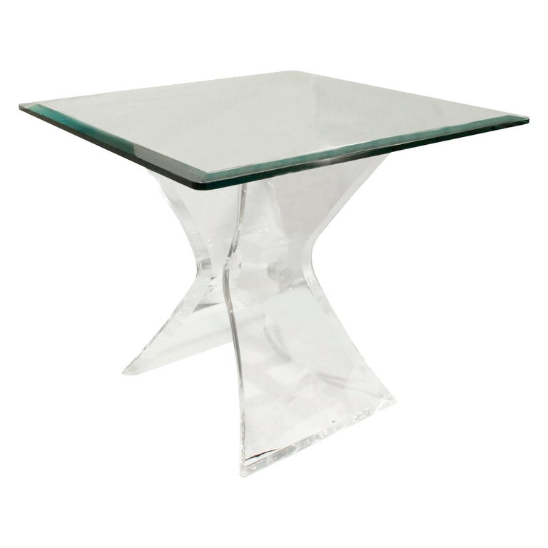 Mid-Century Modern Pair of Lucite and Glass Sculptural End Tables, 1970s For Sale