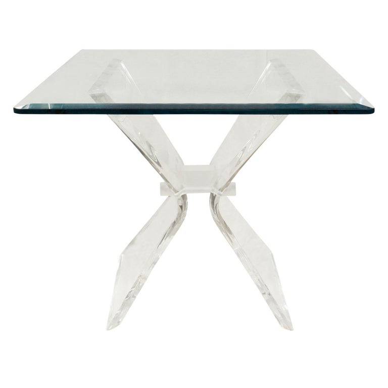 American Pair of Lucite and Glass Sculptural End Tables, 1970s For Sale