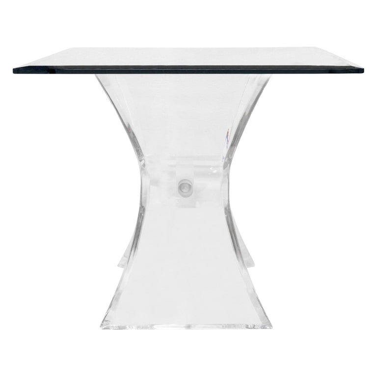 Hand-Crafted Pair of Lucite and Glass Sculptural End Tables, 1970s For Sale