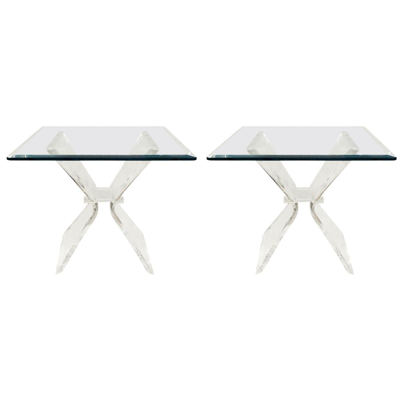 Pair of Lucite and Glass Sculptural End Tables, 1970s
