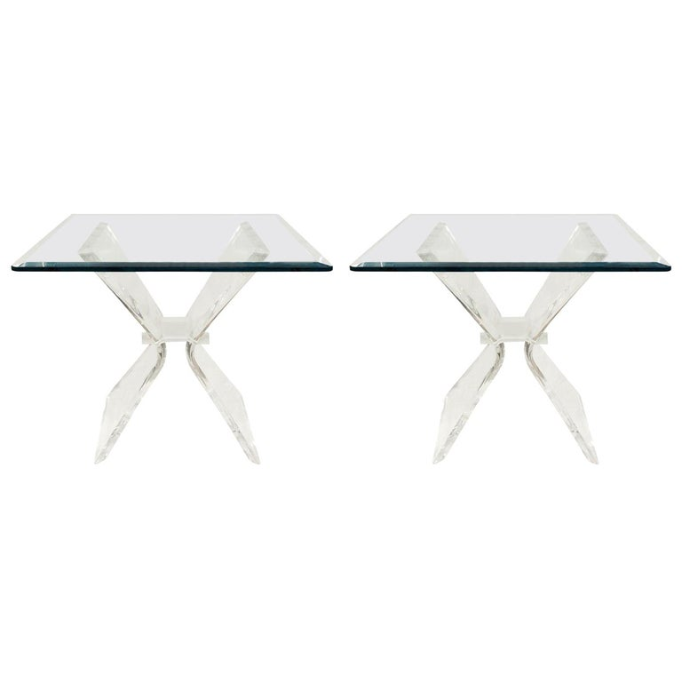 Pair of Lucite and Glass Sculptural End Tables, 1970s For Sale