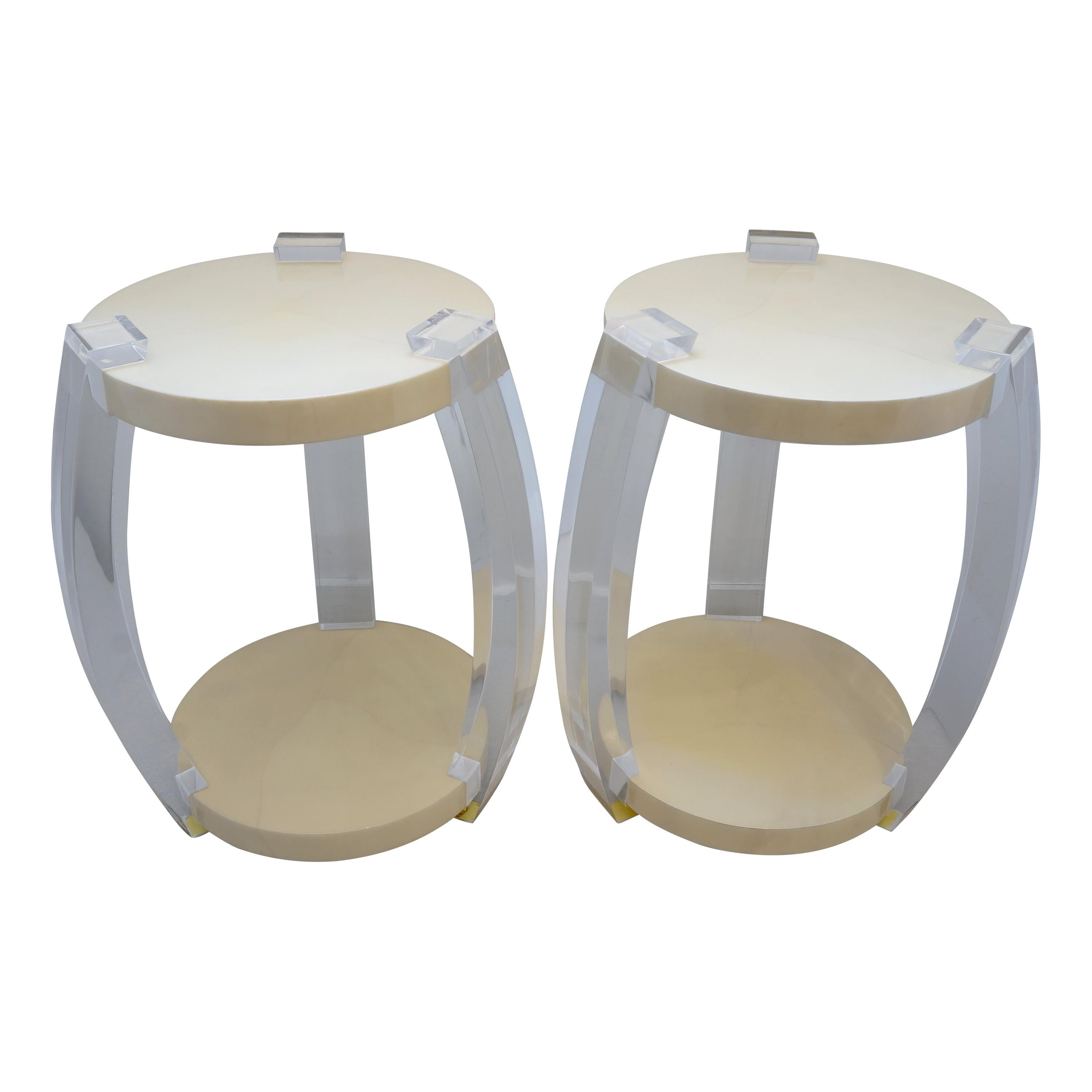 Pair of Lucite and Goatskin Side Tables Style of Karl Springer