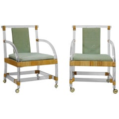 Pair of Lucite and Rattan Lounge Armchairs on Casters by Ficks Reed, 1970s