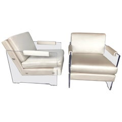 Pair of Lucite and Silk Armchairs