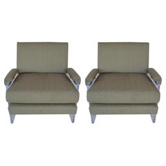 Pair of Lucite Armchairs newly upholstered, 1980's