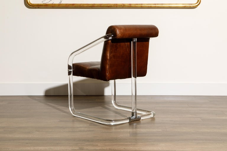 Pair of Lucite and Thick Leather Armchairs by Lion in Frost, c. 1970s Signed For Sale 4