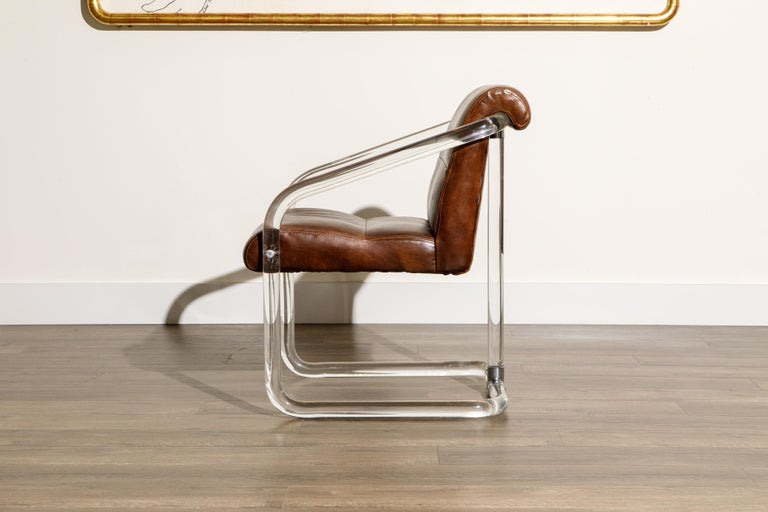 Pair of Lucite and Thick Leather Armchairs by Lion in Frost, c. 1970s Signed For Sale 5