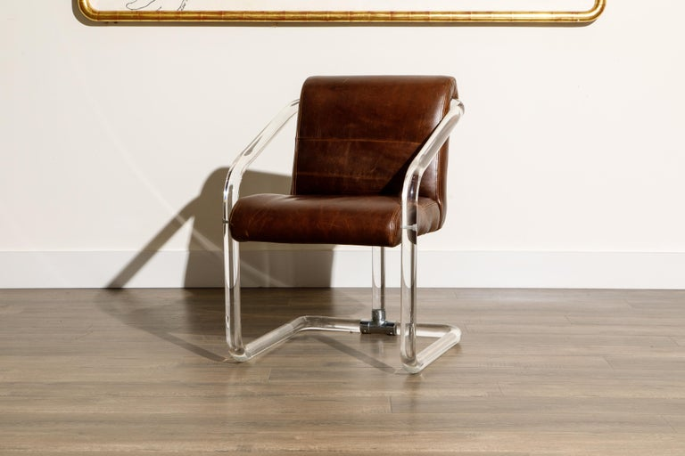 Pair of Lucite and Thick Leather Armchairs by Lion in Frost, c. 1970s Signed For Sale 6