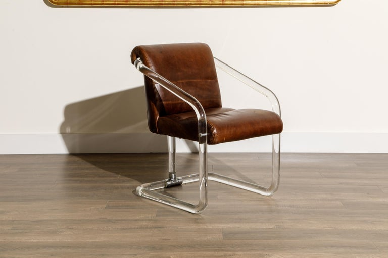 Pair of Lucite and Thick Leather Armchairs by Lion in Frost, c. 1970s Signed For Sale 7
