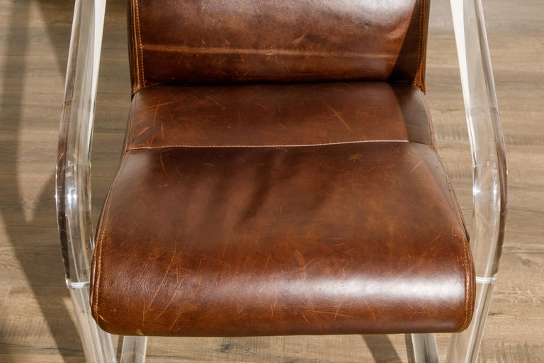 Pair of Lucite and Thick Leather Armchairs by Lion in Frost, c. 1970s Signed For Sale 9