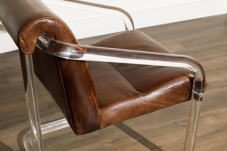 Pair of Lucite and Thick Leather Armchairs by Lion in Frost, c. 1970s Signed For Sale 10