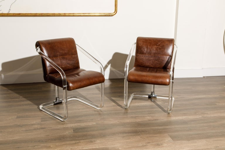 Modern Pair of Lucite and Thick Leather Armchairs by Lion in Frost, c. 1970s Signed For Sale