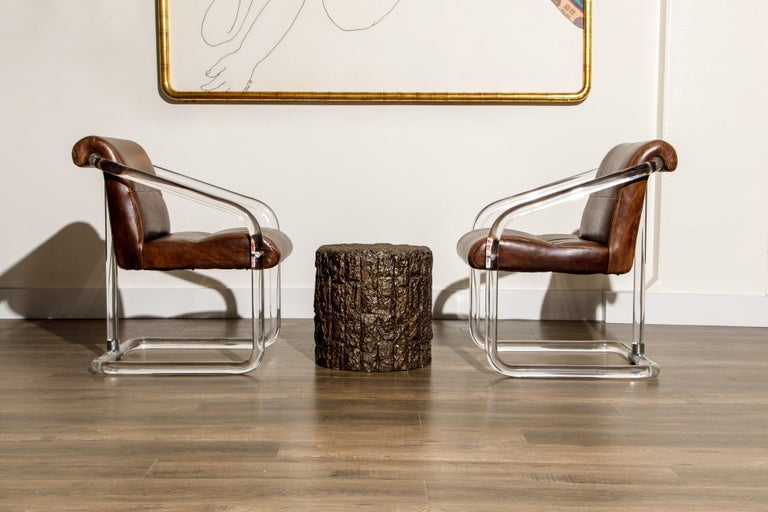 American Pair of Lucite and Thick Leather Armchairs by Lion in Frost, c. 1970s Signed For Sale
