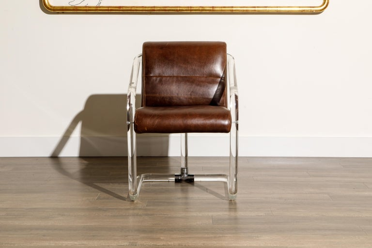 Pair of Lucite and Thick Leather Armchairs by Lion in Frost, c. 1970s Signed In Good Condition For Sale In Los Angeles, CA