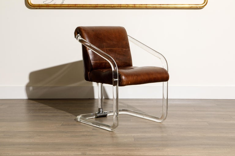 Late 20th Century Pair of Lucite and Thick Leather Armchairs by Lion in Frost, c. 1970s Signed For Sale