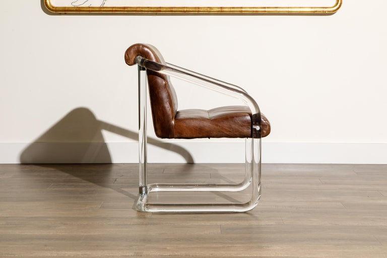 Pair of Lucite and Thick Leather Armchairs by Lion in Frost, c. 1970s Signed For Sale 1